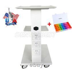 Mobile Dental Socket Tool Intégré Steel Cart Trolley Medical Double Castors Us
