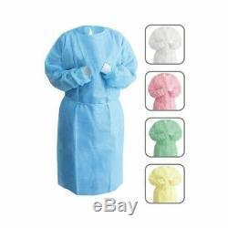 Nivo Isolation À Usage Unique Robe Bleu Avec Knit Cuff Dental-medical 10pk-50pk