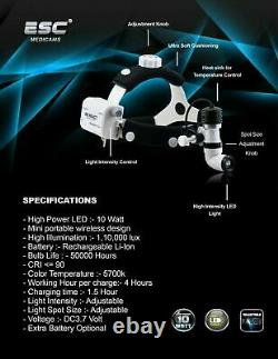 Phare Dentaire Chirurgical Ent Projecteur Médical Led 10 Watt Sans Fil Rechargeable