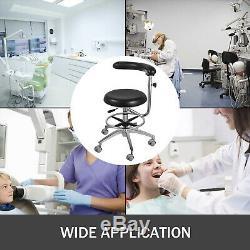 Tabouret Assistante Dentaire 360 ° Rotation Pu Accoudoirs Ergonomique Réglable Médical