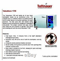 Tuttnauer 1730 Valueklave Autoclaves Stérilisateur Fda Dentaire Médicale Tattoo Santé