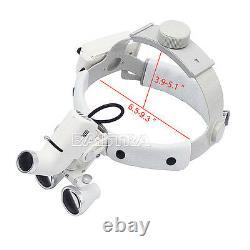 Uk Dental Surgical Medical Headband Led Binocular Loupes Dy-106 3.5x Blanc