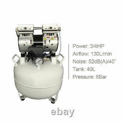 Us 40l Medical Dental Air Compressor Noiseless Silent Silent Oil-less Oil Curing (en Moins D'huile)